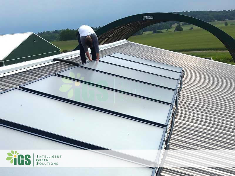Farm Solar Hot Water System – Worm Power Farms Installation Image