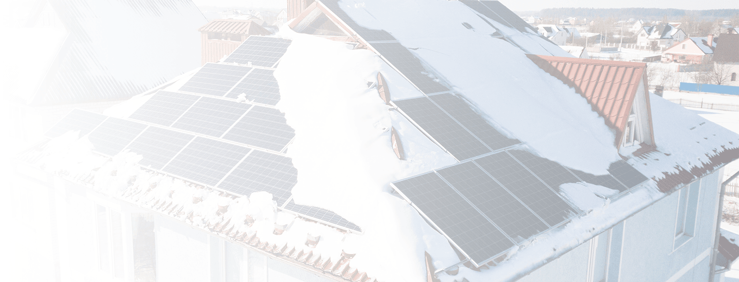 Solar system on roof covered with snow