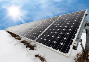 Sunshine in cold temperature scenario produces solar power