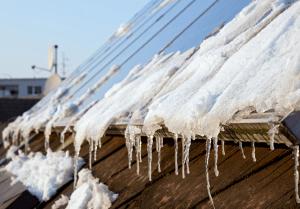 Melting snow on solar panels