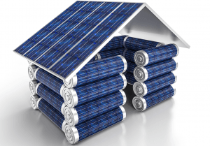 Solar power is saved in batteries