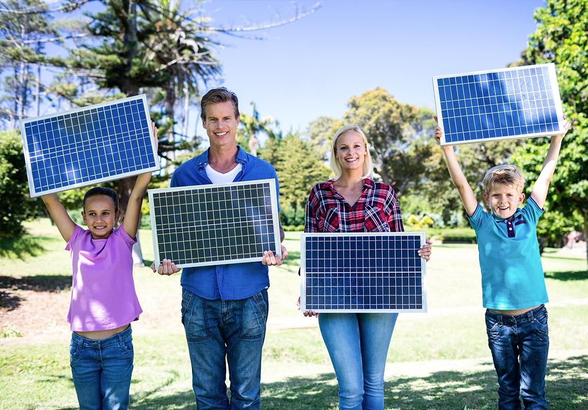 Happy Family with Solar Panels