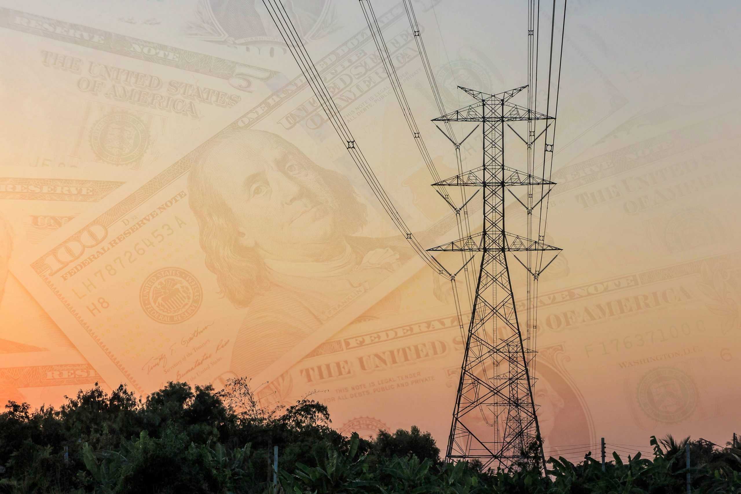 Electricity tower and electric line and dollar cash background, Electricity spending, Electricity infrastructure investment, Urbanization concept, double exposure